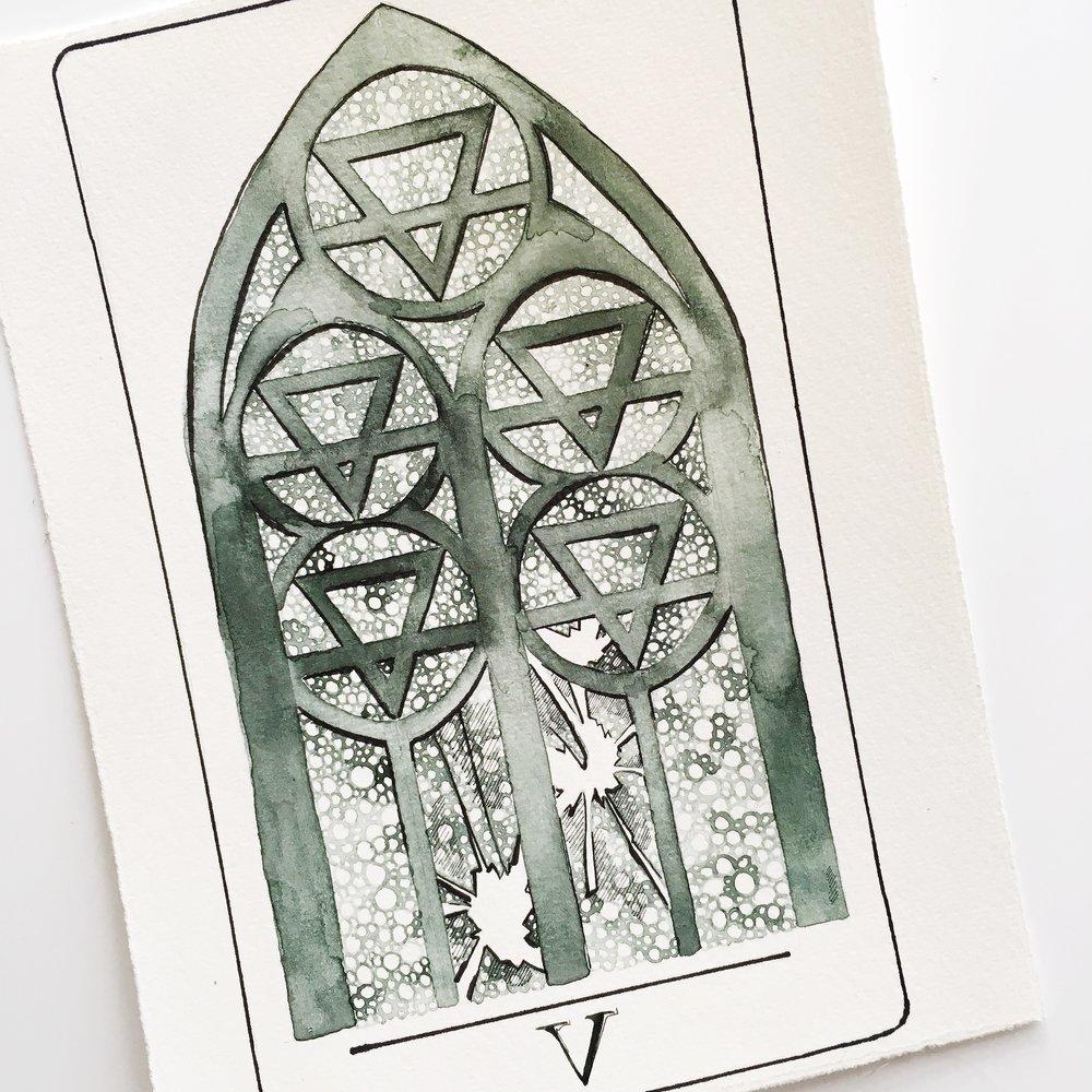 five of pentacles, vindur deck by leah pantea