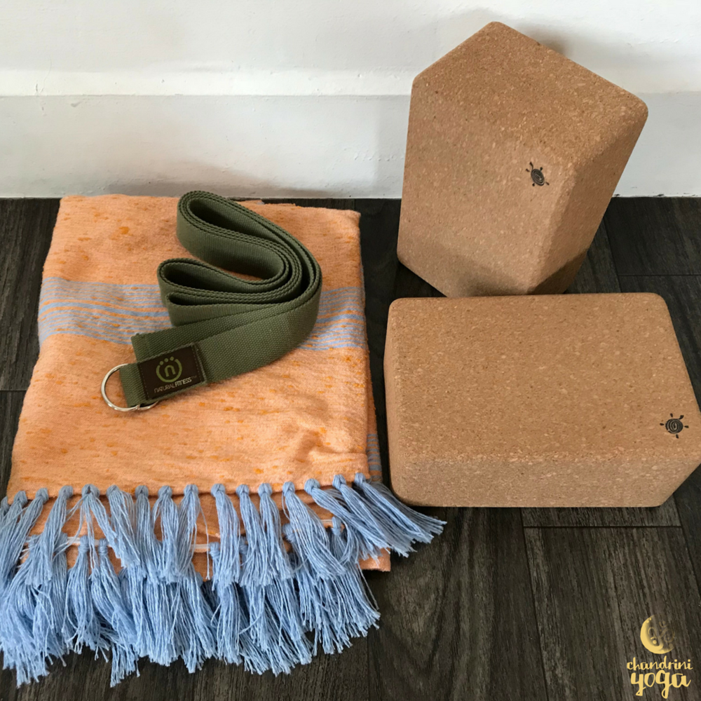 5a6f3c651f057 Set of two large Cork Yoga Blocks from Kurma Yoga , Natural Fitness Hemp  Yoga Strap