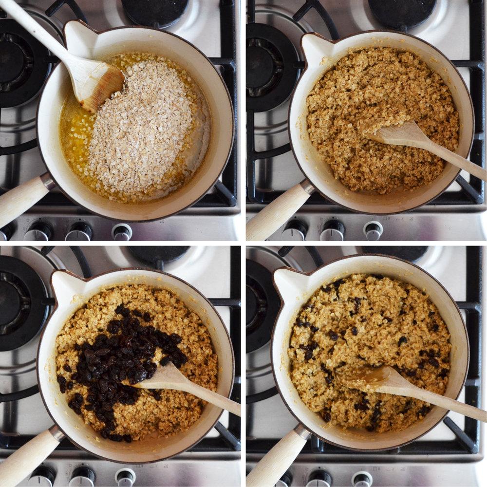 honey and raisin flapjack recipe method