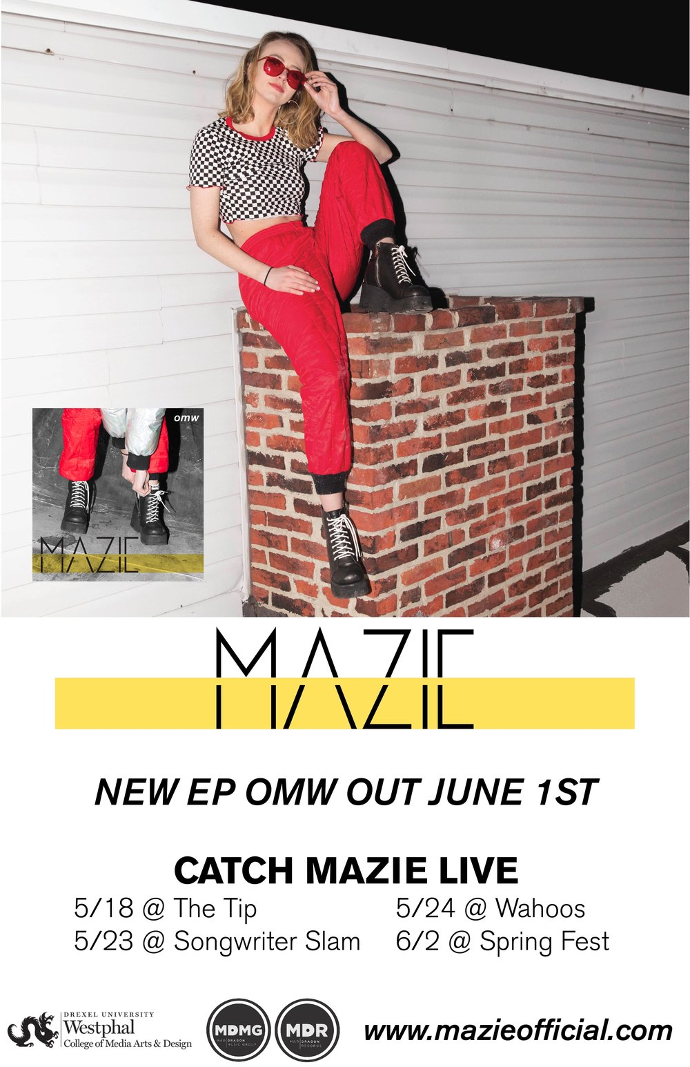 Poster/flyer for Mad Dragon Music Group artist Mazie's EP release and shows