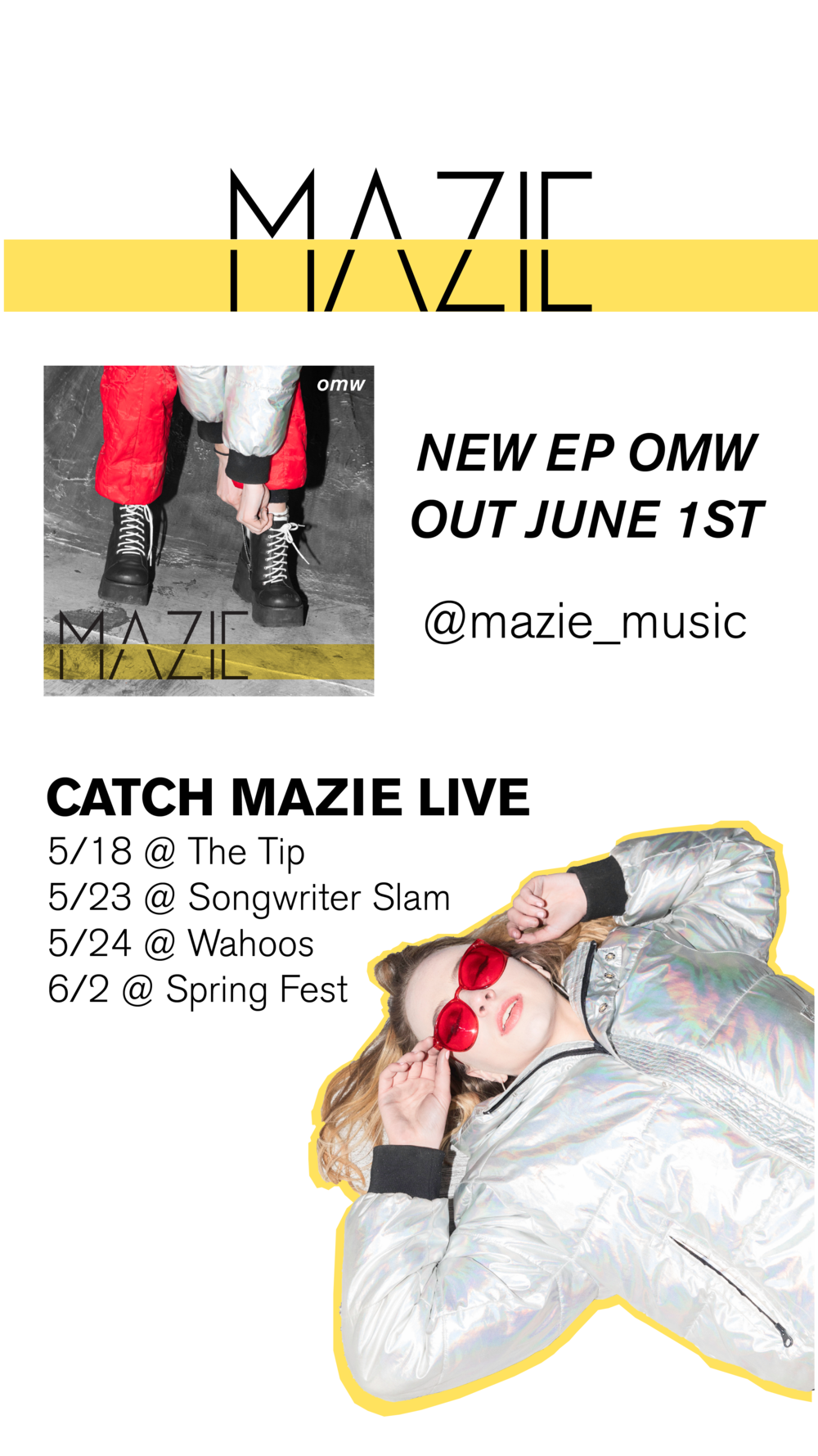 Instagram story for Mad Dragon Music Group artist Mazie EP release and shows