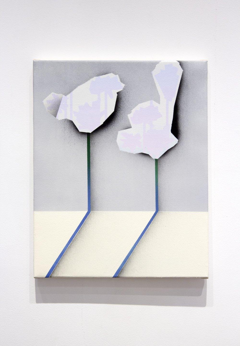 """Arrangement. Acrylic on canvas. 16 x 20"""". 2018."""