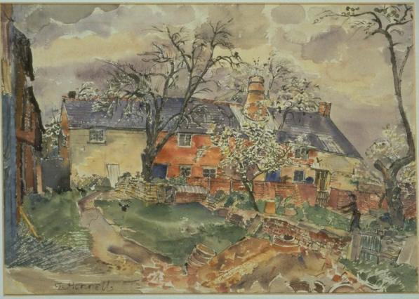 This picture was painted by Thomas Hennell in the 1930s. Notice the chimney of the bottle kiln popping out of the roof of the house/workshop. Image courtesy of Matt Grimmitt.