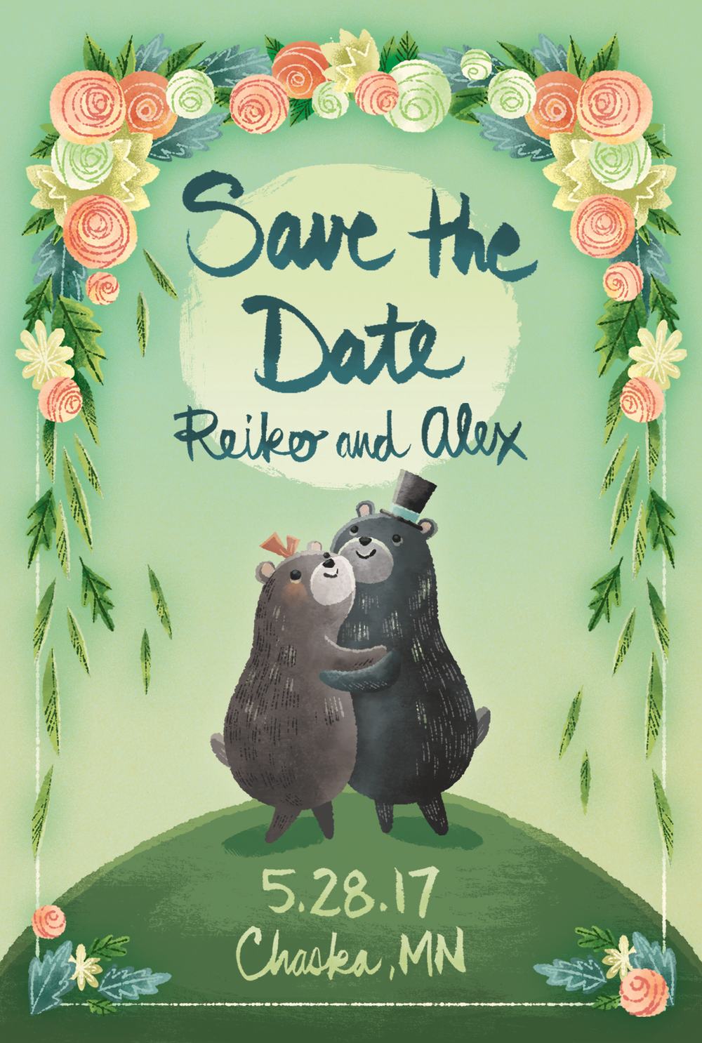 A Save The Date featuring the bride's favorite animal.
