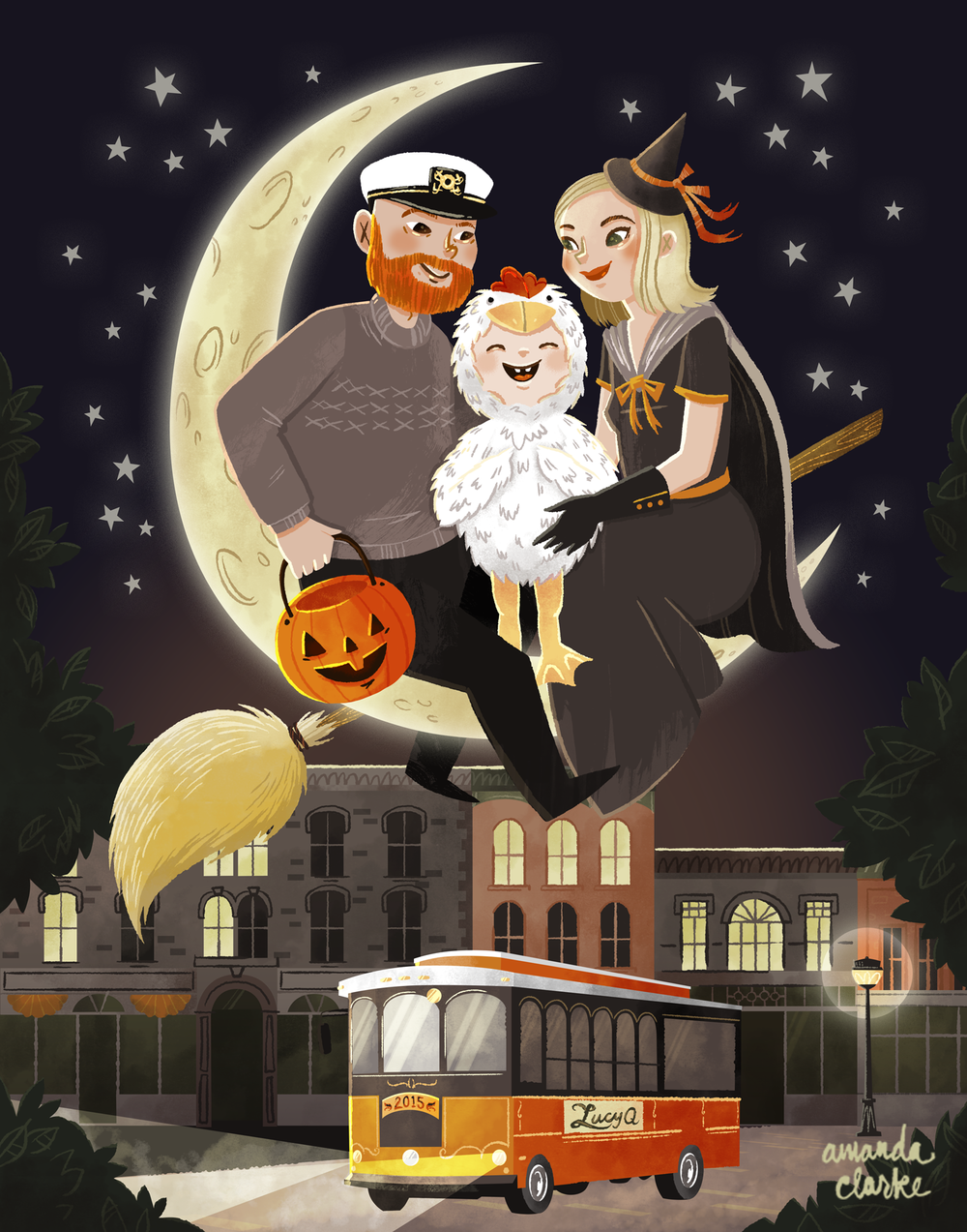 A Halloween portrait for a Salem based family.