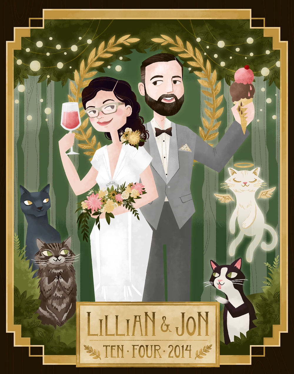 An anniversary portrait honoring a couple's many cats.
