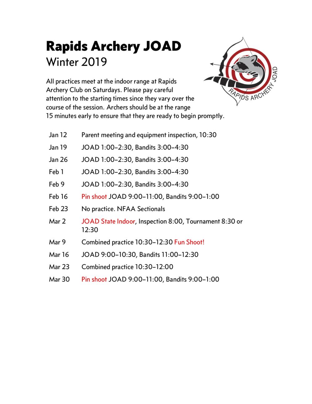 Rapids Archery JOAD winter 2019 schedule.png