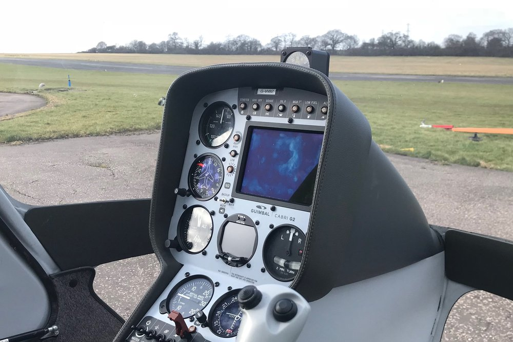 Cockpit of Cabri G2 helicopter