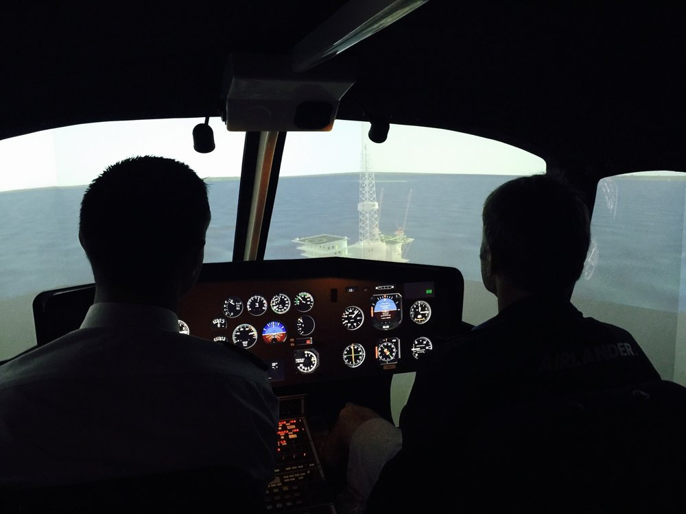 Approaching an Oil Rig in our Helicopter Flight Simulator