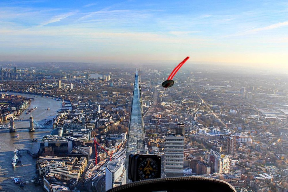 Cabri G2 Helicopter Flying Past The Shard in London