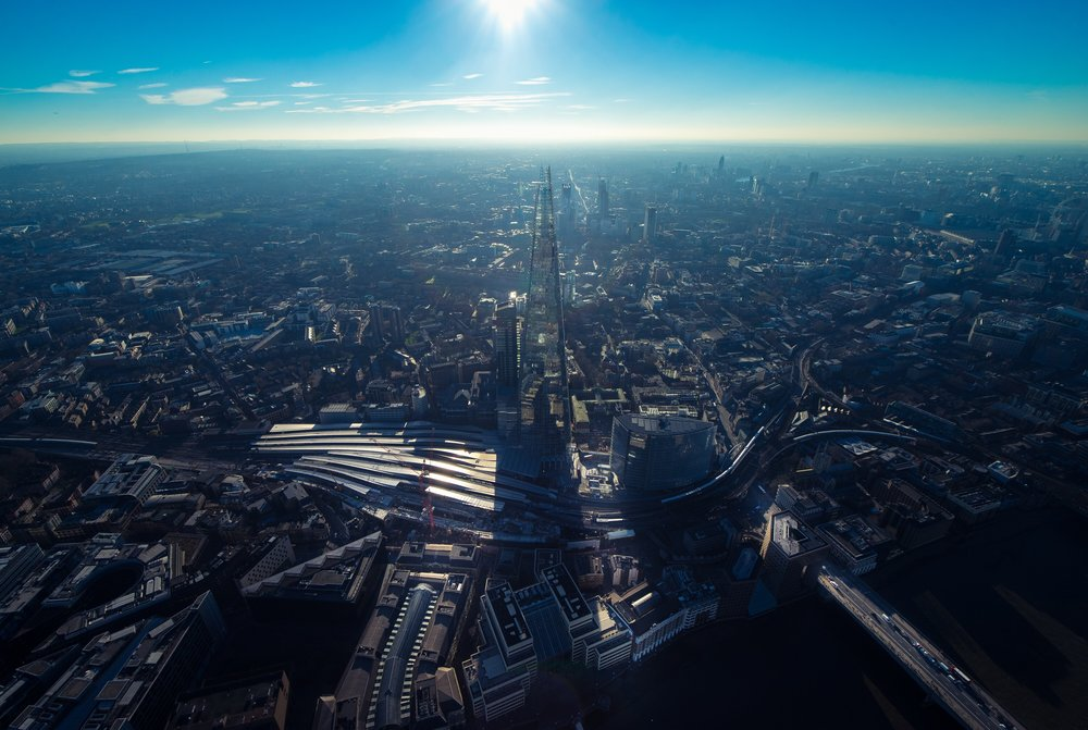 View on a London Helicopter Tour of the Shard in South London