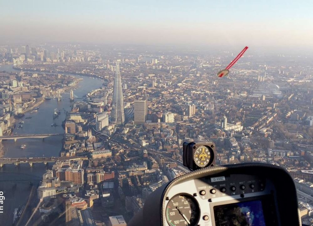 Flying over the River Thames in a helicopter