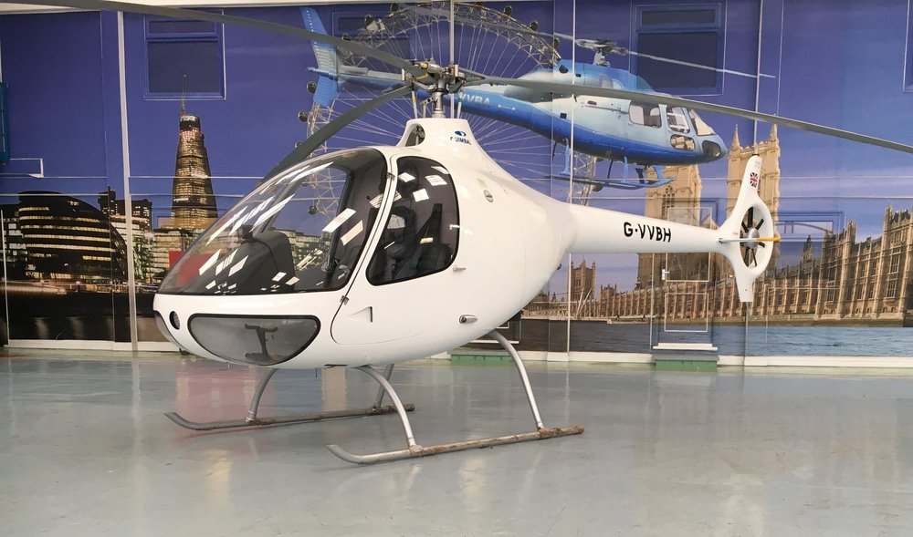 Helicopteres Guimbal G2 inside our hangar at VVB Aviation