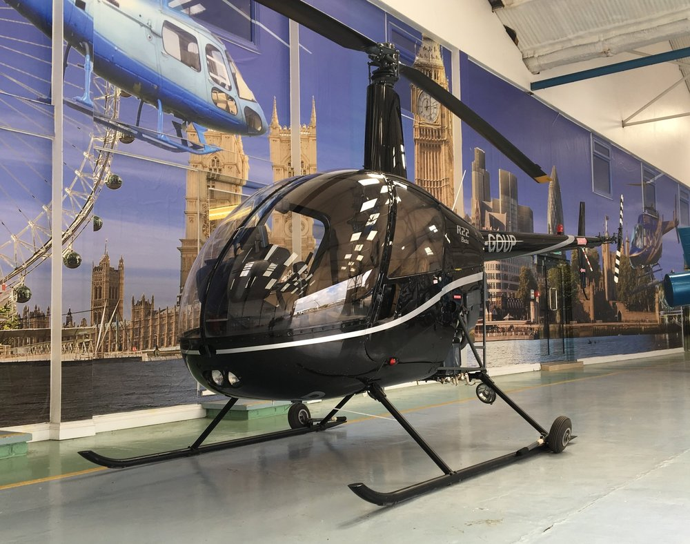 Robinson R22 Helicopter in hangar at VVB