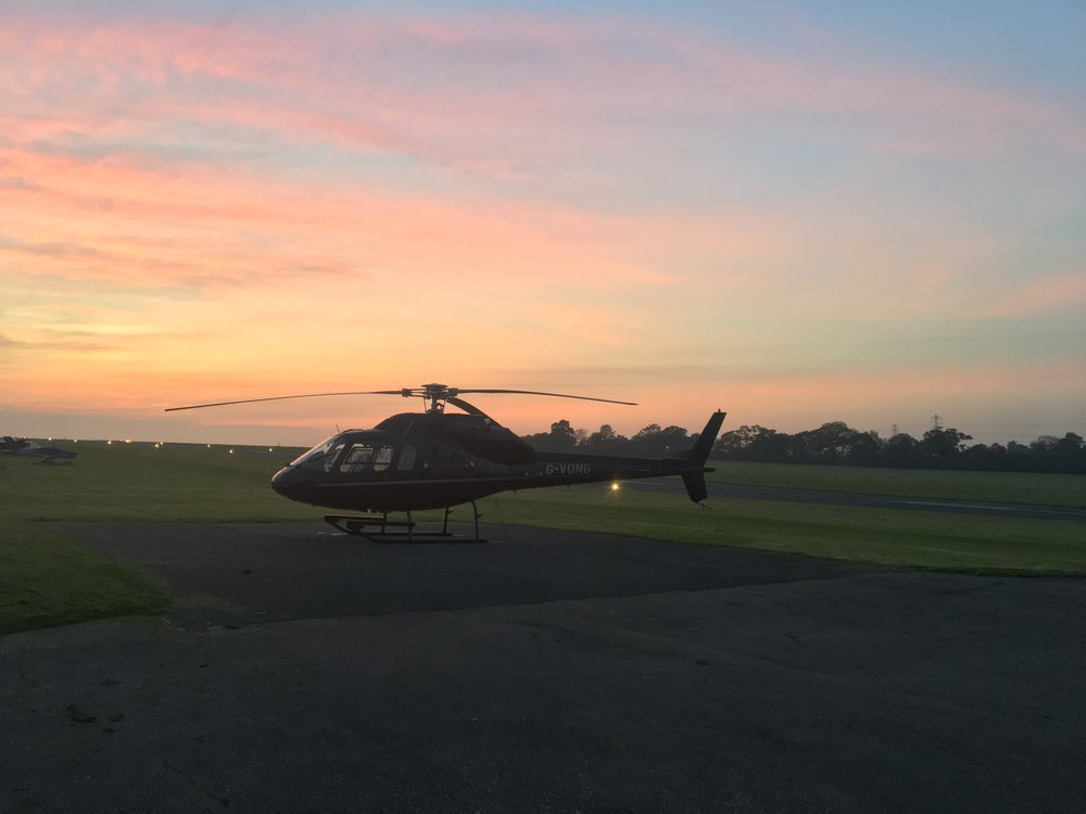 Elstree Aerodrome Sunset on Helipad with Twin Squirrel helicopter