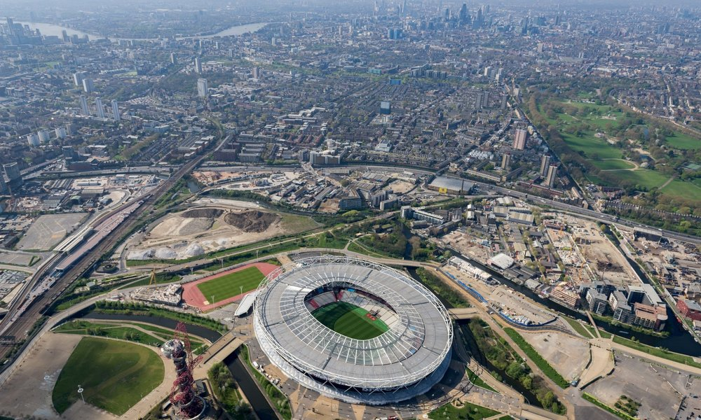 Olympic Park Aerial View from Helicopter