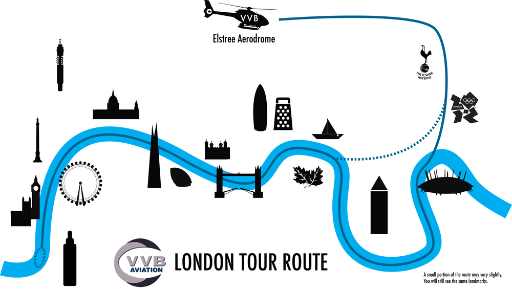 Helicopter sightseeing flight route over Central London
