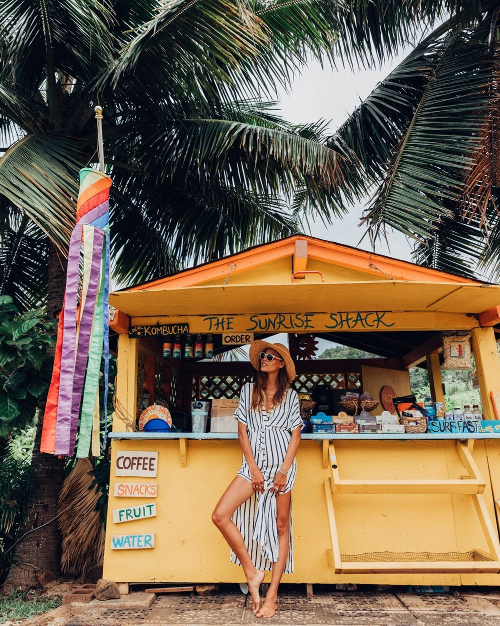 Tahnee Pinches shot by Morgan McDougall at the Sunrise Shack on the North Shore of Oahu for Cosmos Companions.