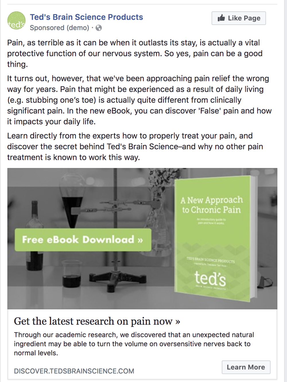 Treatment - This is the new treatment version of the eBook offer Facebook ad. You'll notice that everything except the supporting copy has stayed the same. In the supporting copy, we added a few paragraphs introducing the topic to the viewer.Here are the results observed for the treatment page:1172 visitors, 105 clicks (8.96% Clickthrough Rate)