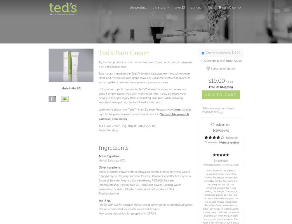 Treatment - This is the treatment version of Ted's Pain Cream 'Product' page. We added in a subscription option directly under the 'One-time Purchase' option that included $2 off. Here are the results observed for the treatment page:1,412 visitors, 163 conversions (11.6% eCommerce Conversion Rate)