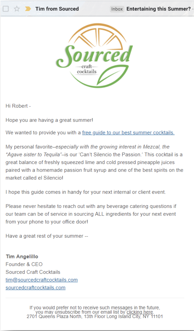 Control - This is the first email we sent to office managers, with the control subject line: