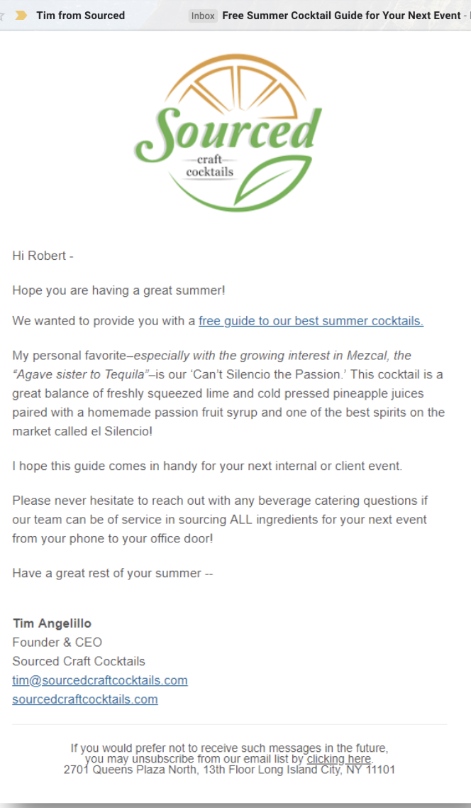 Treatment - This is the same email, with the treatment subject line: