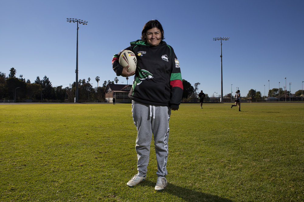 Mia Anderson of Dubbo has an intellectual disability, but this hasn't stopped her from playing oztag with the local footy club.