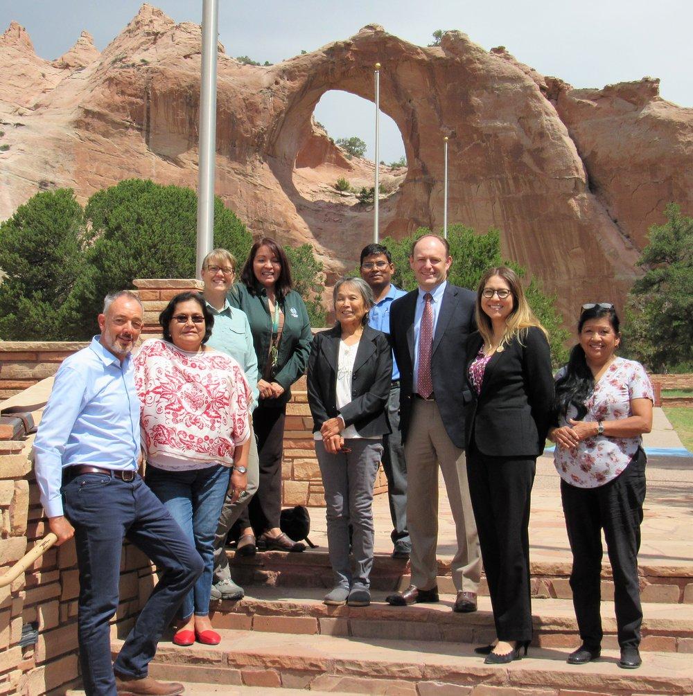 Meet the Team - From left to right: Sean Hogan (USEPA), Priscilla Tom (USEPA), Freyja Knapp (USEPA), Trustee Watchman-Moore, Lilly Lane (NEPA), Binod Chaudhary (NEPA Superfund), Brent Moore (Montgomery & Andrews), Nina Chester (OPVP), and Diane Malone (NEPA Superfund).