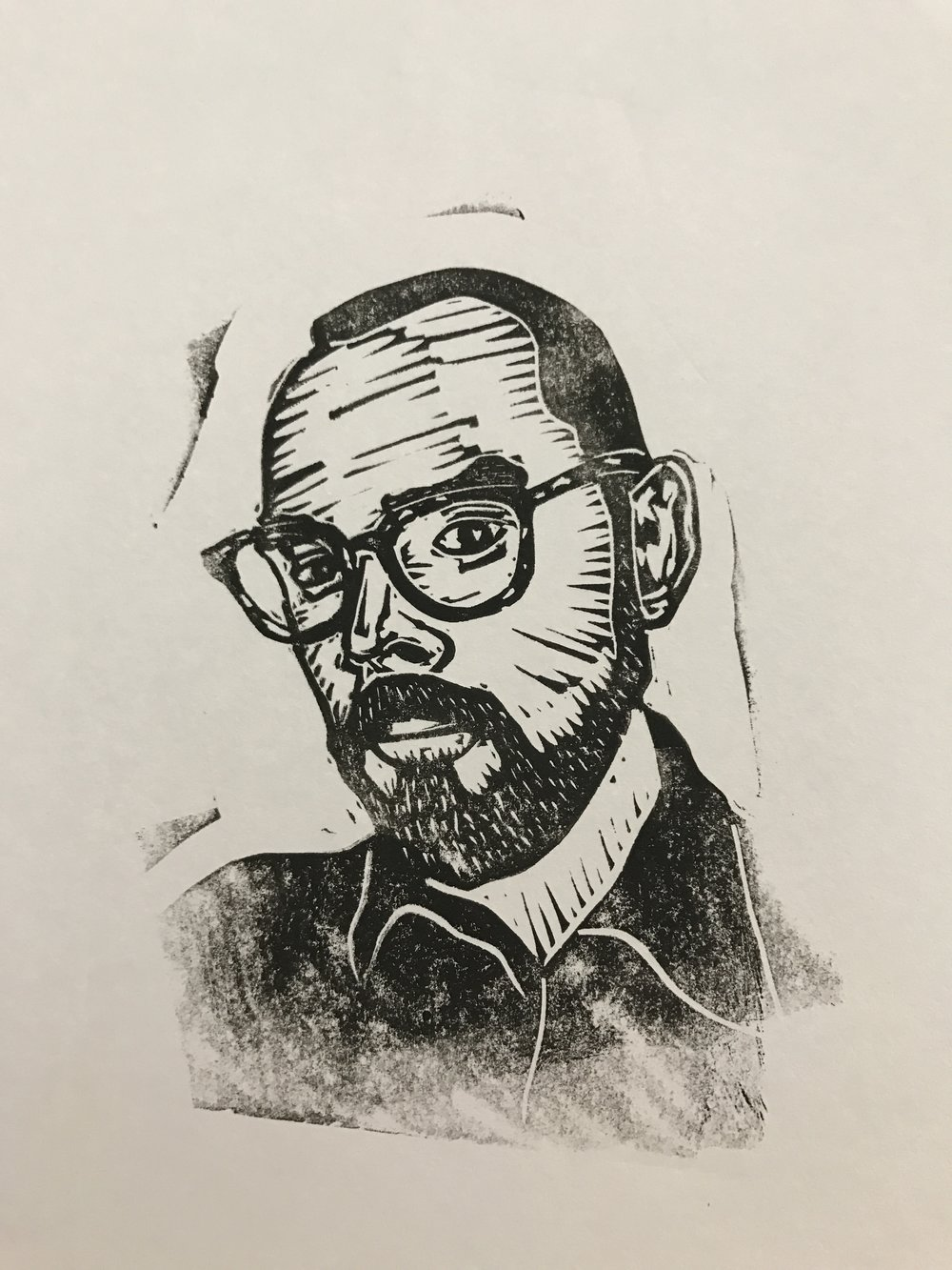 Linocut portrait