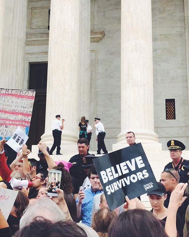 Being escorted off the Supreme Court steps by police never felt so good. 😈Come rain, come shine, come sickness, you better best believe my ass was protesting today. ✊🏻#believesurvivors #stopkavanaugh #womensmarch #nastywoman