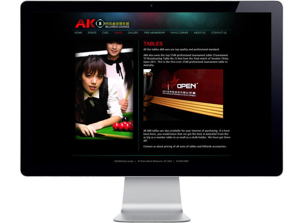 AK8 Billiards Lounge Website