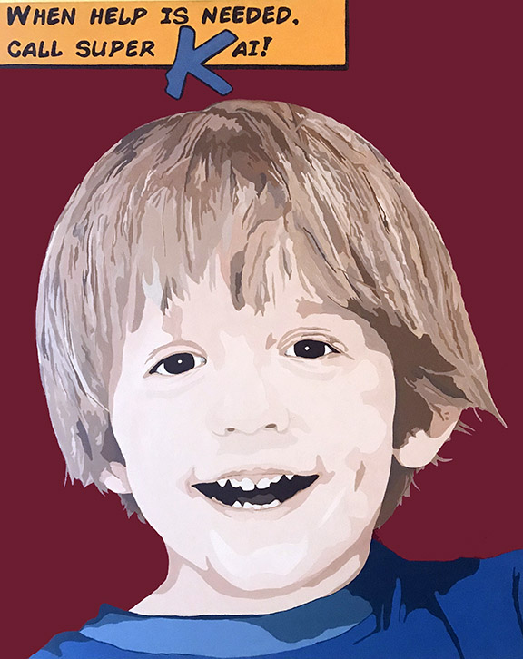 "Pop art portrait of young boy smiling wearing blue shirt with red background.  Yellow text block says, ""when help is needed call super Kai!"""
