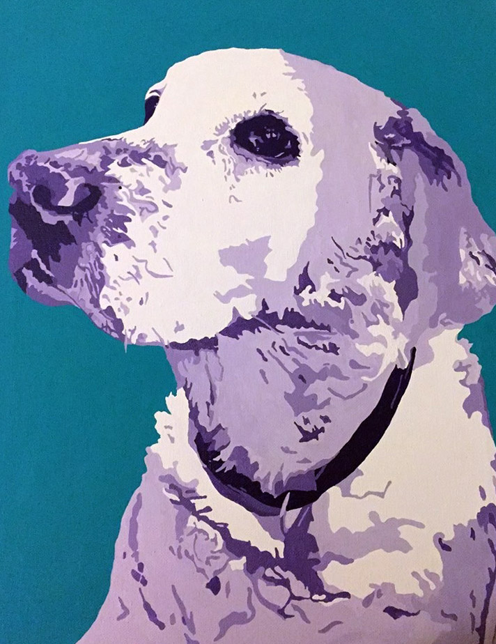 Pop art portrait of dog painted in shades of purple with a turquoise background.