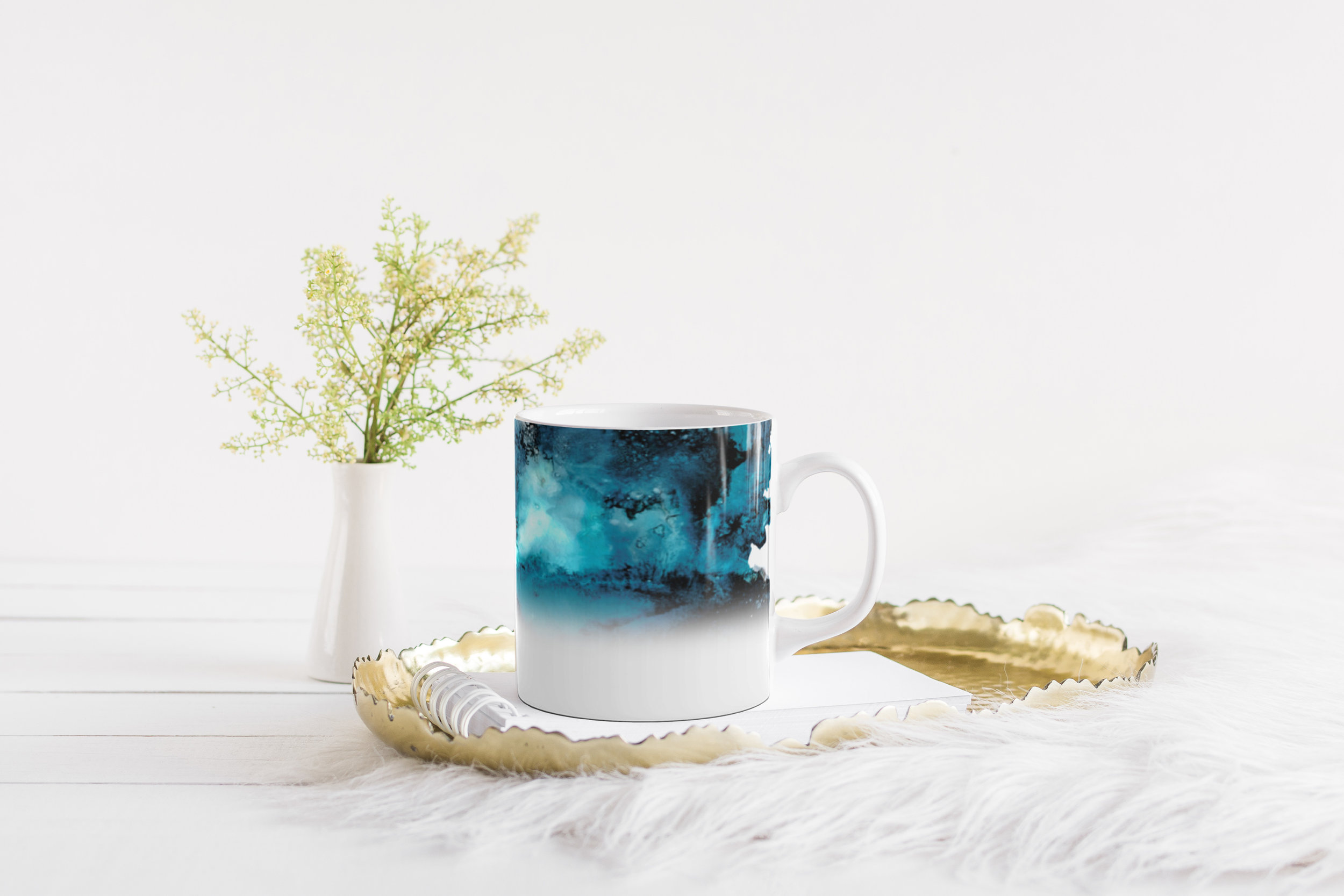 Turquoise Storm Ceramic Coffee Mug Chantal Claire Collections