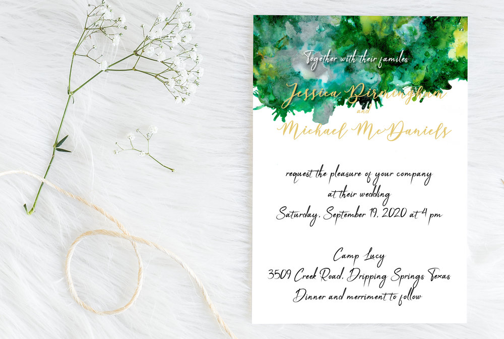 luxury wedding invitation - emerald storm