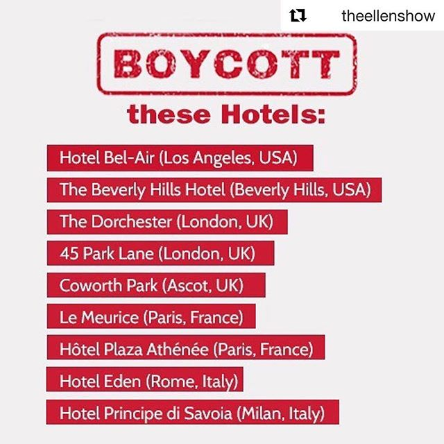 #Repost @theellenshow with @get_repost ・・・ Tomorrow, the country of Brunei will start stoning gay people to death. We need to do something now. Please boycott these hotels owned by the Sultan of Brunei. Raise your voices now. Spread the word. Rise up.