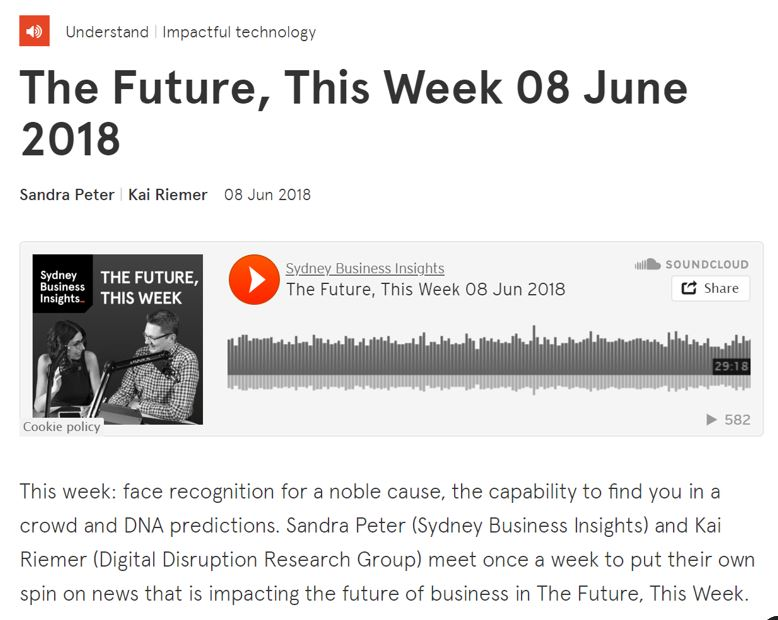 Our article was also part of an interesting discussion on  The Future, This Week.  Listen  here (it starts at minute 24.30)