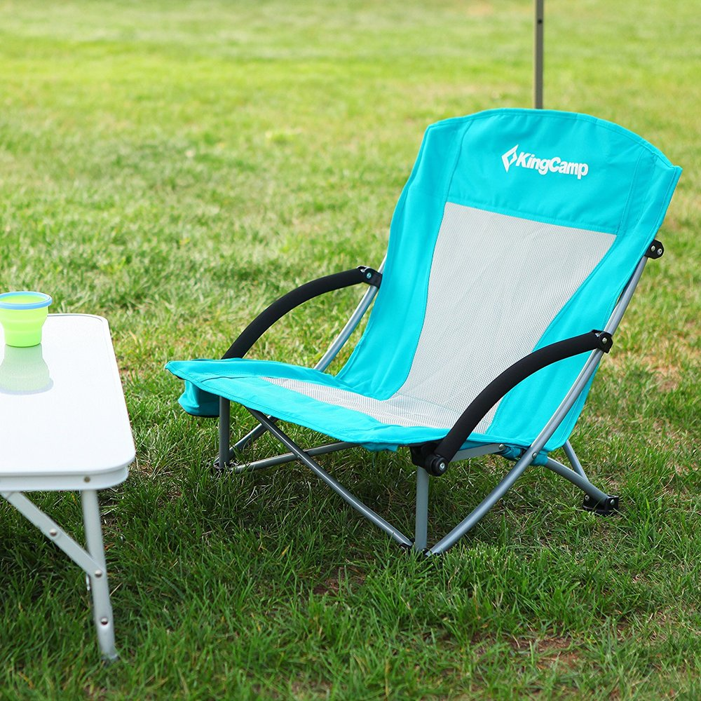 low profile folding beach chair with mesh back and cup holder 300