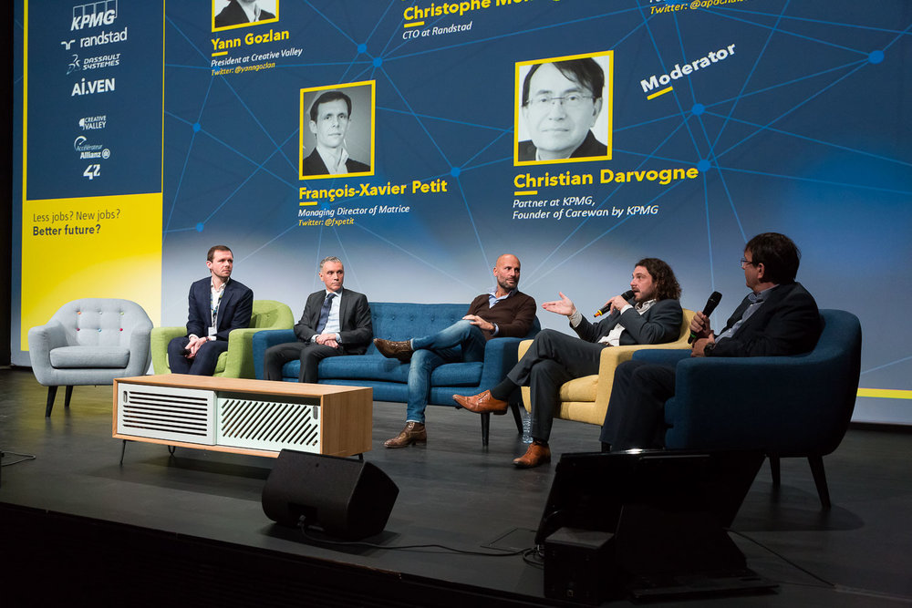 PANEL : LESS JOBS? NEW JOBS? BETTER FUTURE ?  Speakers : François-Xavier  Petit  - Managing Director of Matrice, Christophe  Montagnon  - CTO at Randstad, Alexandre  Pachulski  - Founder at TalentSoft, Yann  Gozlan  – President at Creative Valley, Moderator : Christian  Darvogne  - KPMG Partner, Founder of Carewan by KPMG. Photo: Svend Andersen