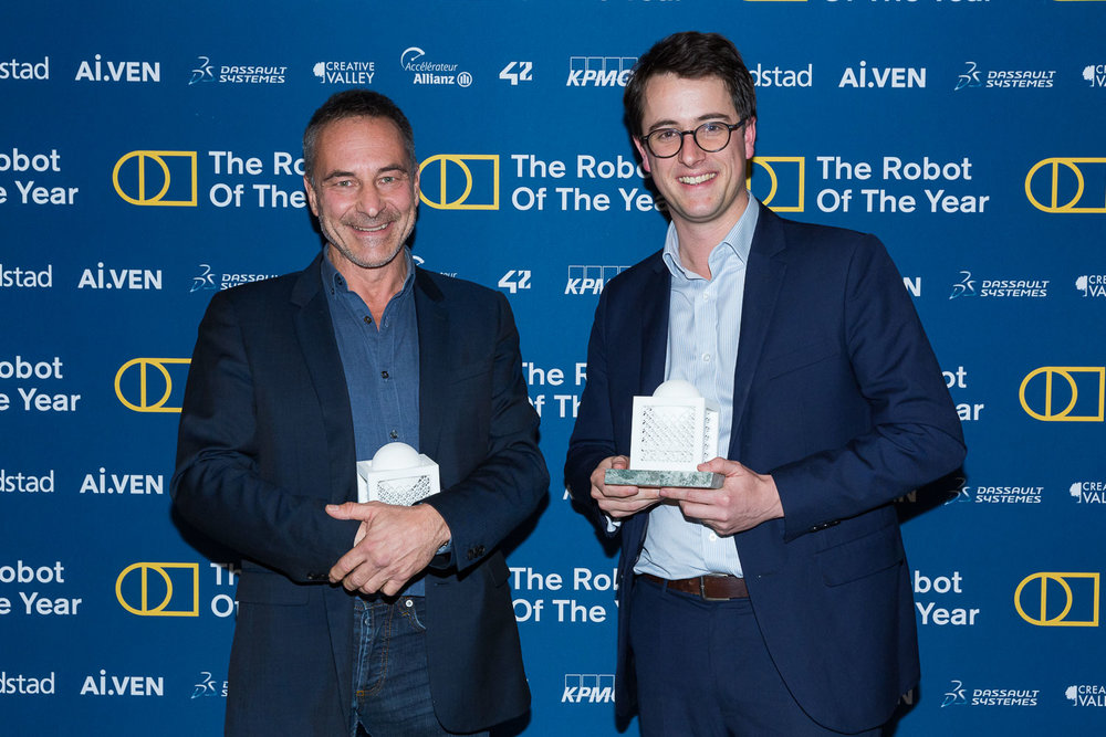 AWARD CEREMONY - WINNERS / LAUREATS  Jean Louis  Constanza -  Co-Founder & Chief Business and Clinical Officer at Wandercraft,  Christophe  Aube -  CEO AgreenCulture. Photo Svend Andersen