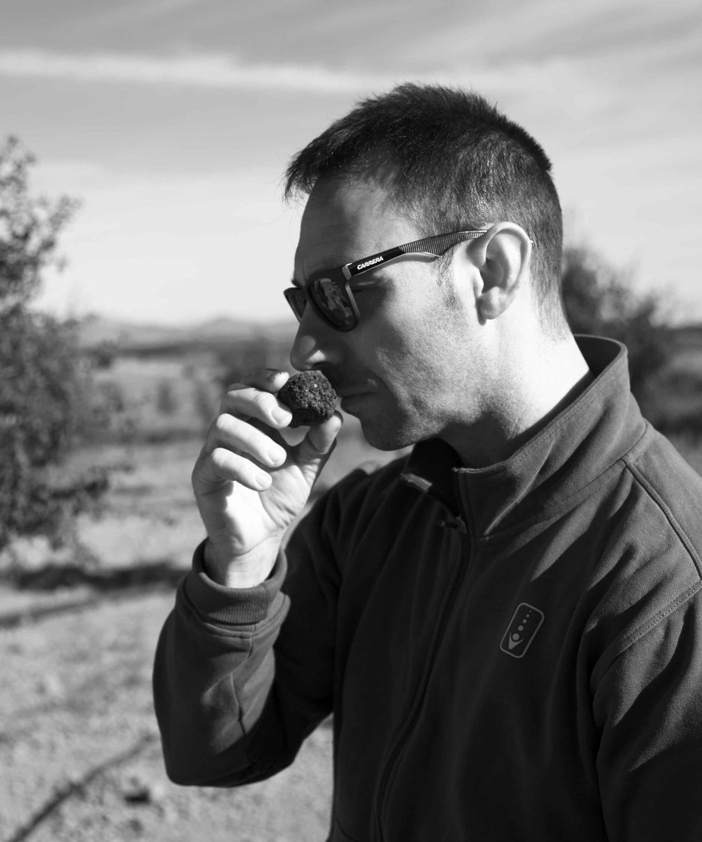 Roque - Valencia  Raised in Teruel by his father, an expert truffle hunter and grower, Roque grew up with generations of truffle knowledge ingrained in to his psyche. It's no wonder that he now produces the finest truffles in Spain and arguably the world over.
