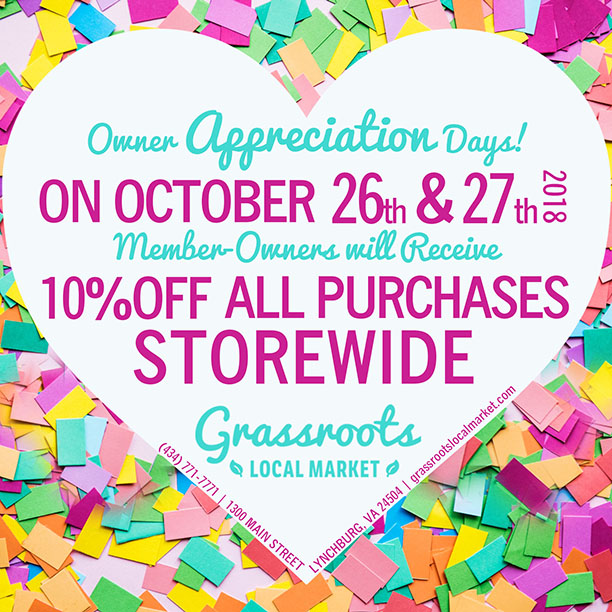 Reminder!  Our first Owner Appreciation Days are NEXT FRIDAY & SATURDAY (Oct 26th & 27th).