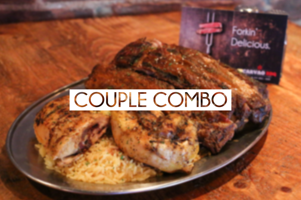 1/2 BBQ chicken, 1/2 rack of BBQ ribs, rice & fries, bottle of wine or six pack of beer  $32.95