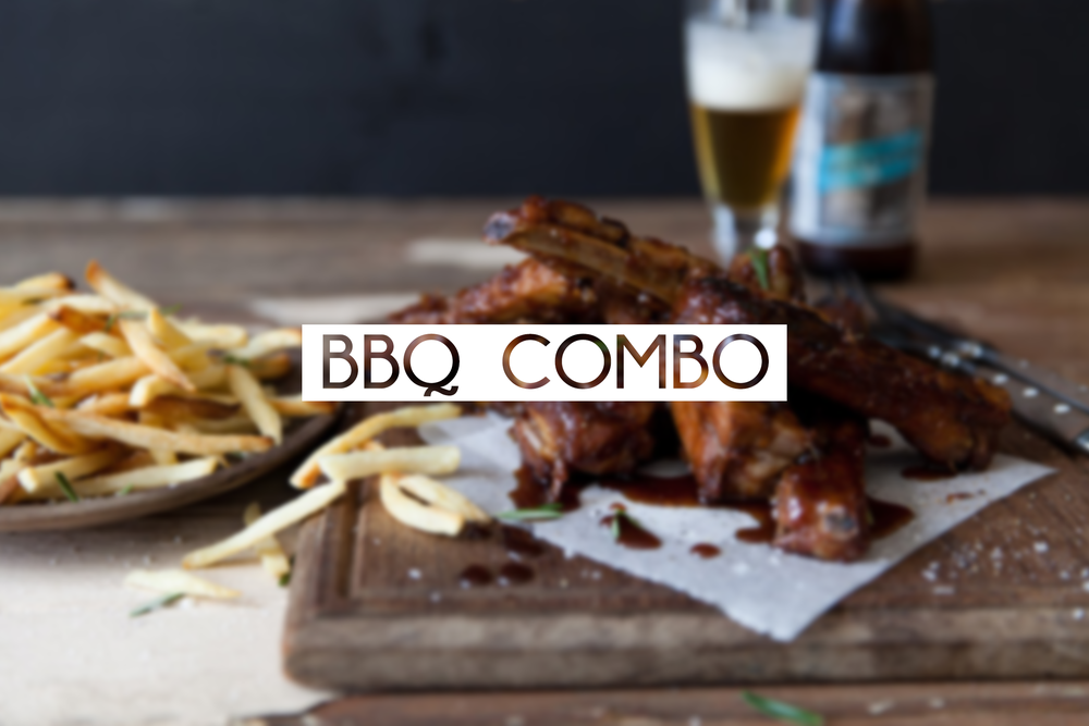 Choice 1/4 leg of BBQ chicken or 2 BBQ ribs, rice and fries, can of soda, chocolate chip cookie.  $11.95