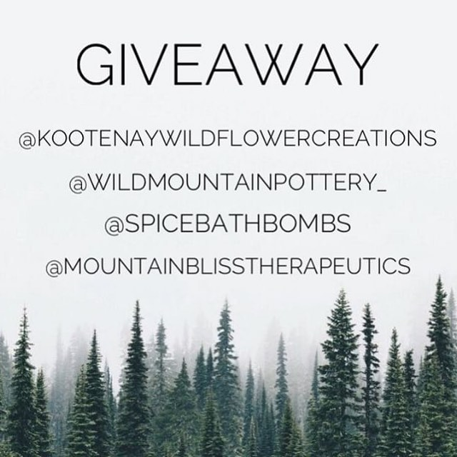 INSTAGRAM GIVEAWAY!🎄 I have teamed up with 3 other amazing local businesses for this Holiday Giveaway!❄️ Winner will receive some goodies from each of the participating accounts. We hope you enjoy this giveaway and it helps you support some local shops when shopping this Christmas season!🎄 How to enter:  Follow- @Kootenaywildflowercreations @wildmountainpottery_  @Spicebathbombs @Mountainblisstherapeutics  Like this picture Tag 2 friends **Must follow, like and comment on all of our posts to be entered. Canadian residents only. Not sponsored or associated with Instagram. We will contact the winner via DM! Contest ends 12/19/18💜 . . .
