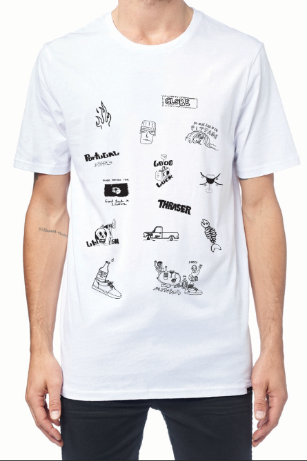 T-Shirt Design - A shirt designed for our new film release GOOD LUCK IN LISBON. A series of cartoon illustrations that were all hand drawn.