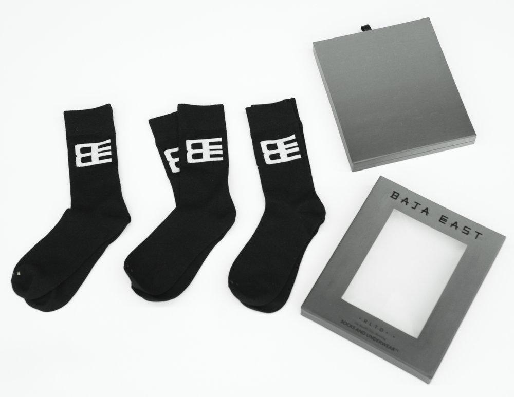 BAJA EAST - Three pack of socks, apparel designed and package designed by me. 100% wool socks.