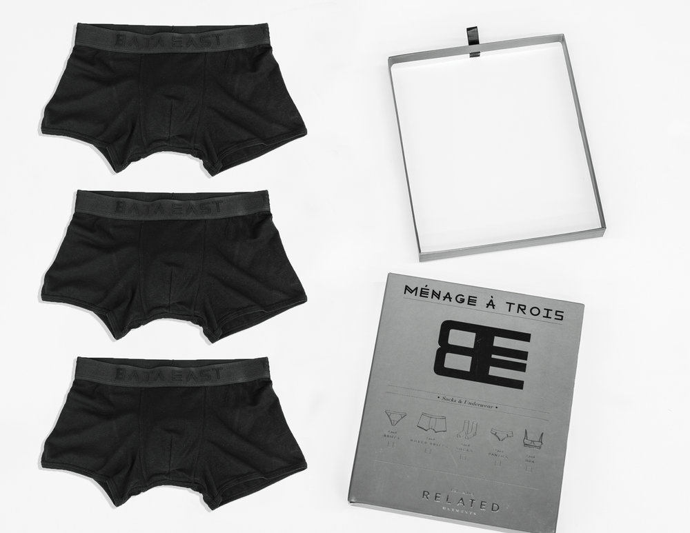 - 3 pack of boxer briefs. Apparel designs and package designed by me. Modal Cotton blend.