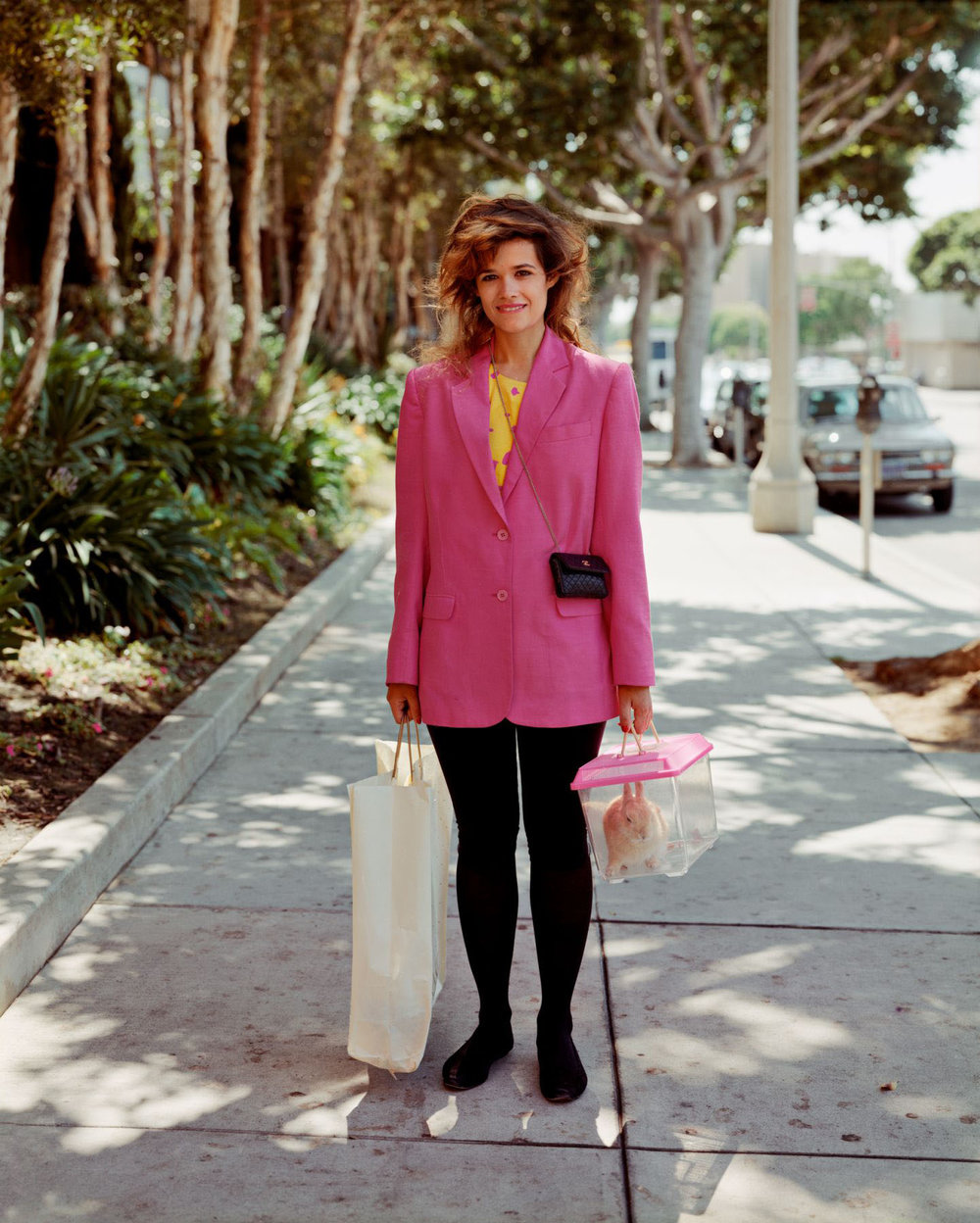 A Woman Out Shopping with Her Pet Rabbit, Santa Monica, California, August 1987