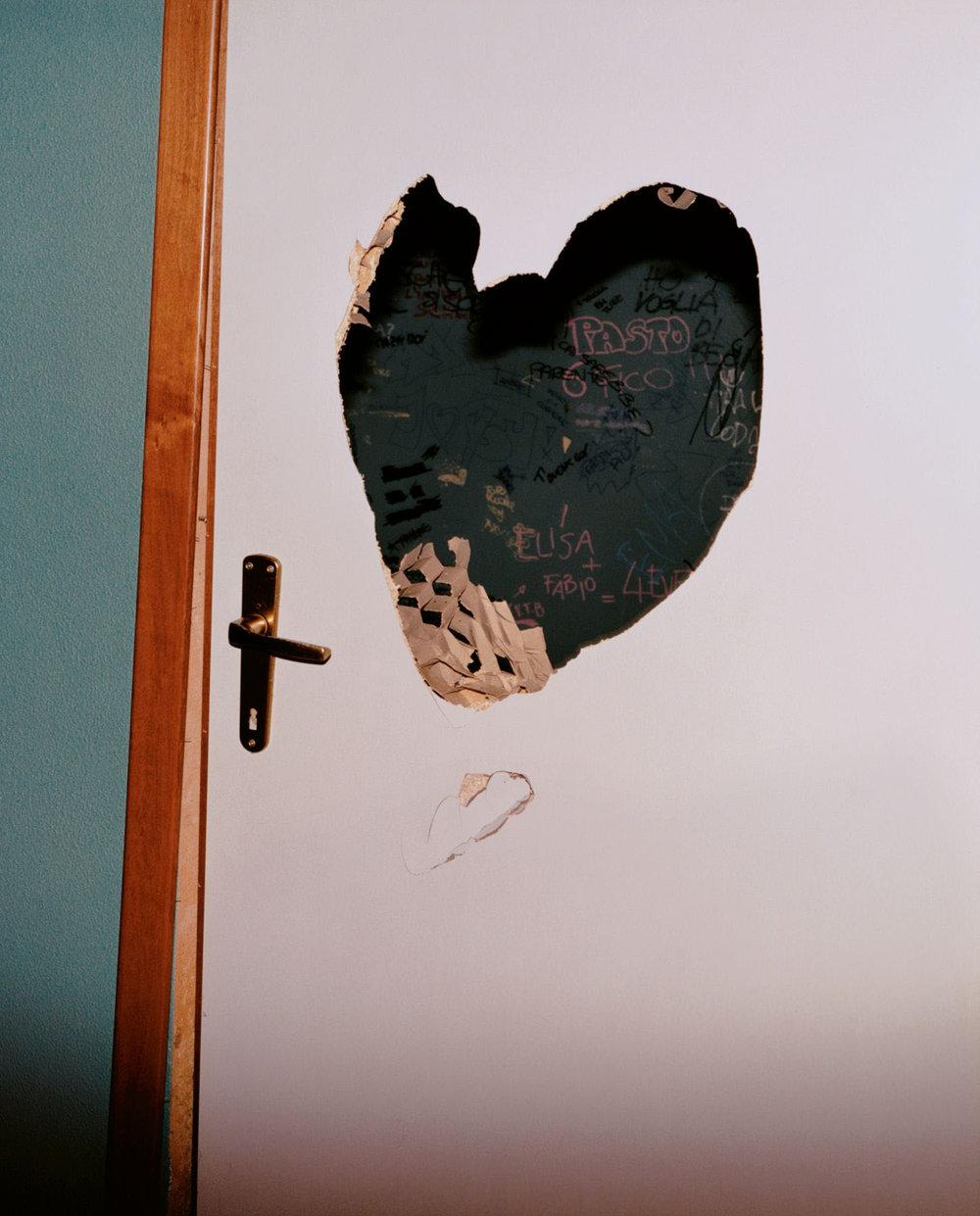 A door in the Armando Diaz School After a Police Raid, Genoa, 21 July 2001